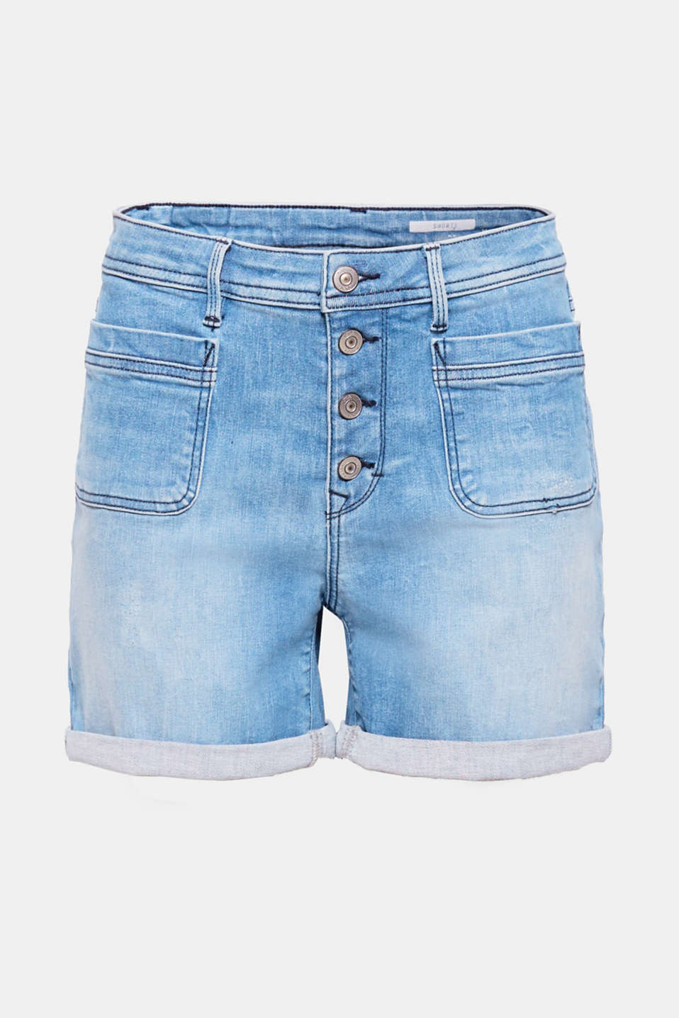 These casual, garment-washed denim shorts have a cool, trendy look thanks to the button placket, patch pockets and fixed turn-up hems.