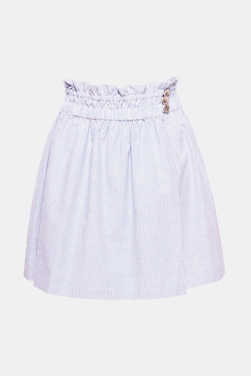 The nautical stripes and the wrap-over look with a distinctive button placket give this woven skirt its unique charm.