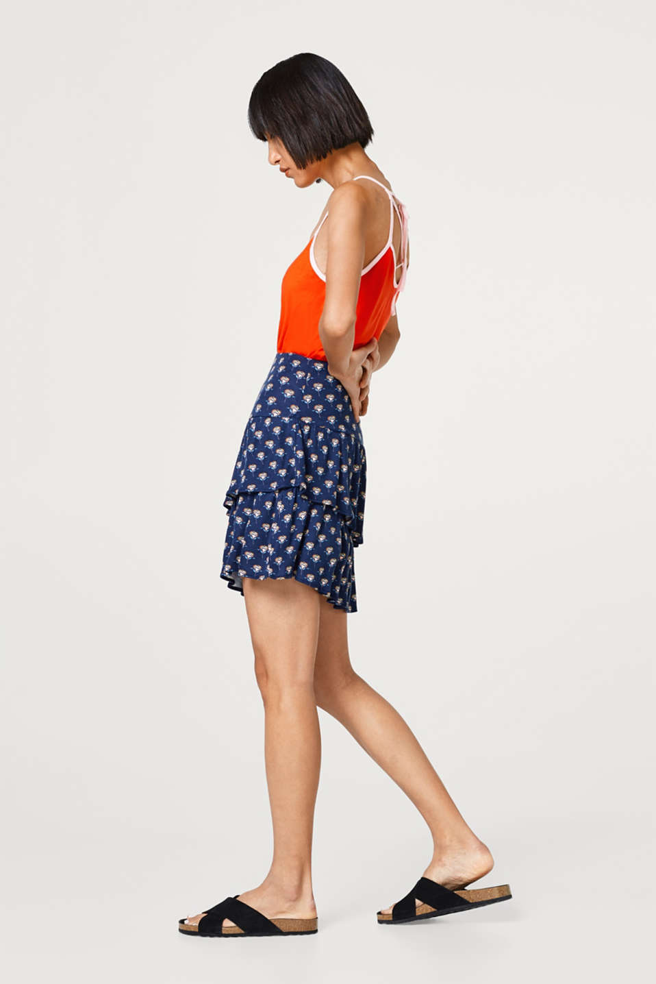 edc - Printed jersey skirt with flounces