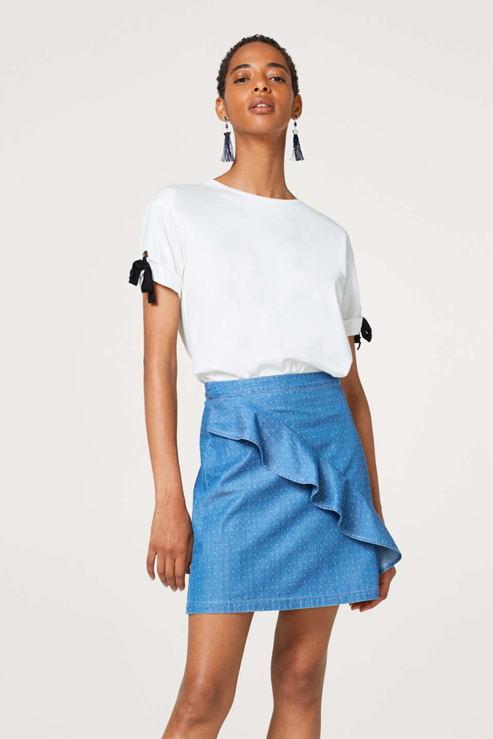 edc - Denim mini skirt with a flounce