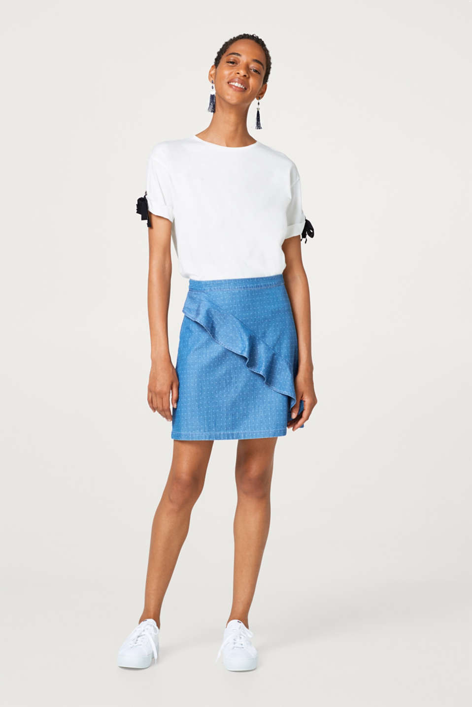Denim mini skirt with a flounce