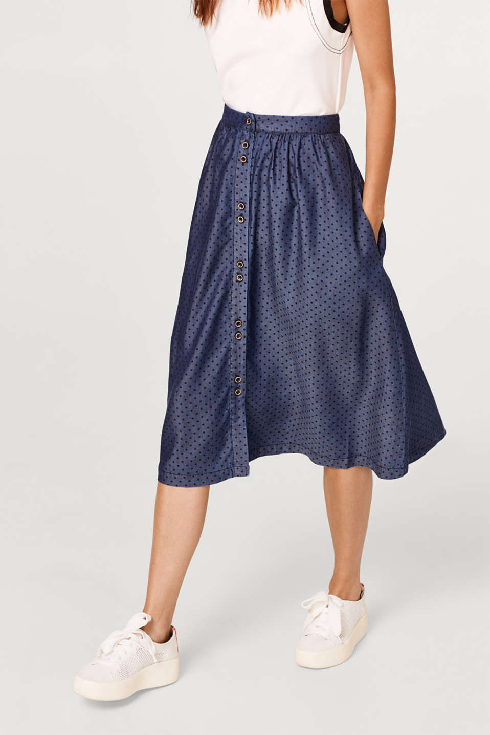 edc - Flared skirt with polka dots, in lyocell