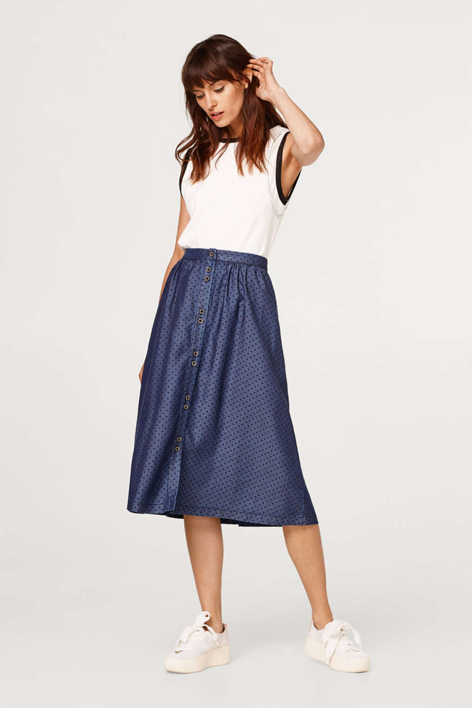 Flared skirt with polka dots, in lyocell