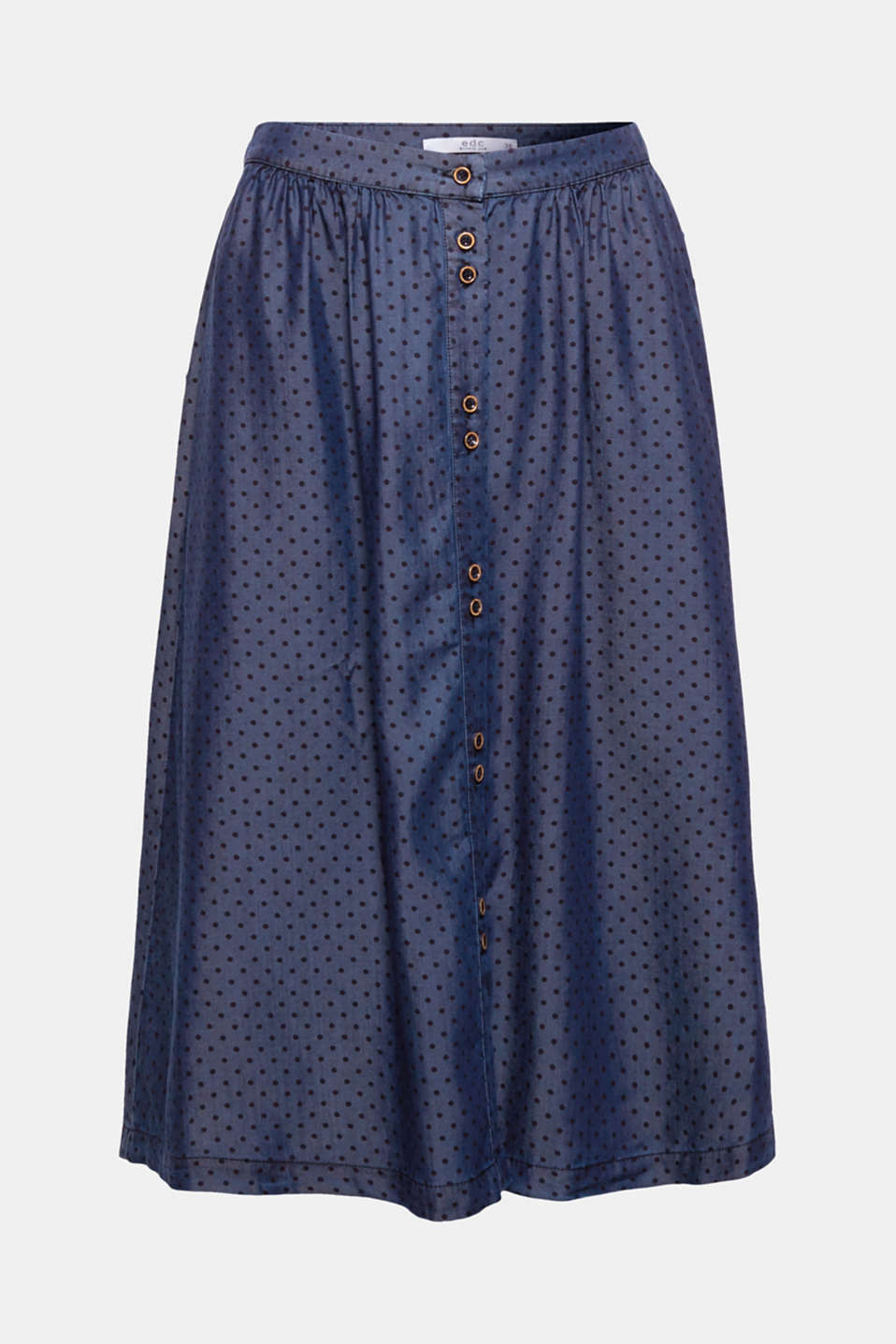 Tinted polka dots, the accentuated button placket and the flared shape make this skirt a stylish favourite.
