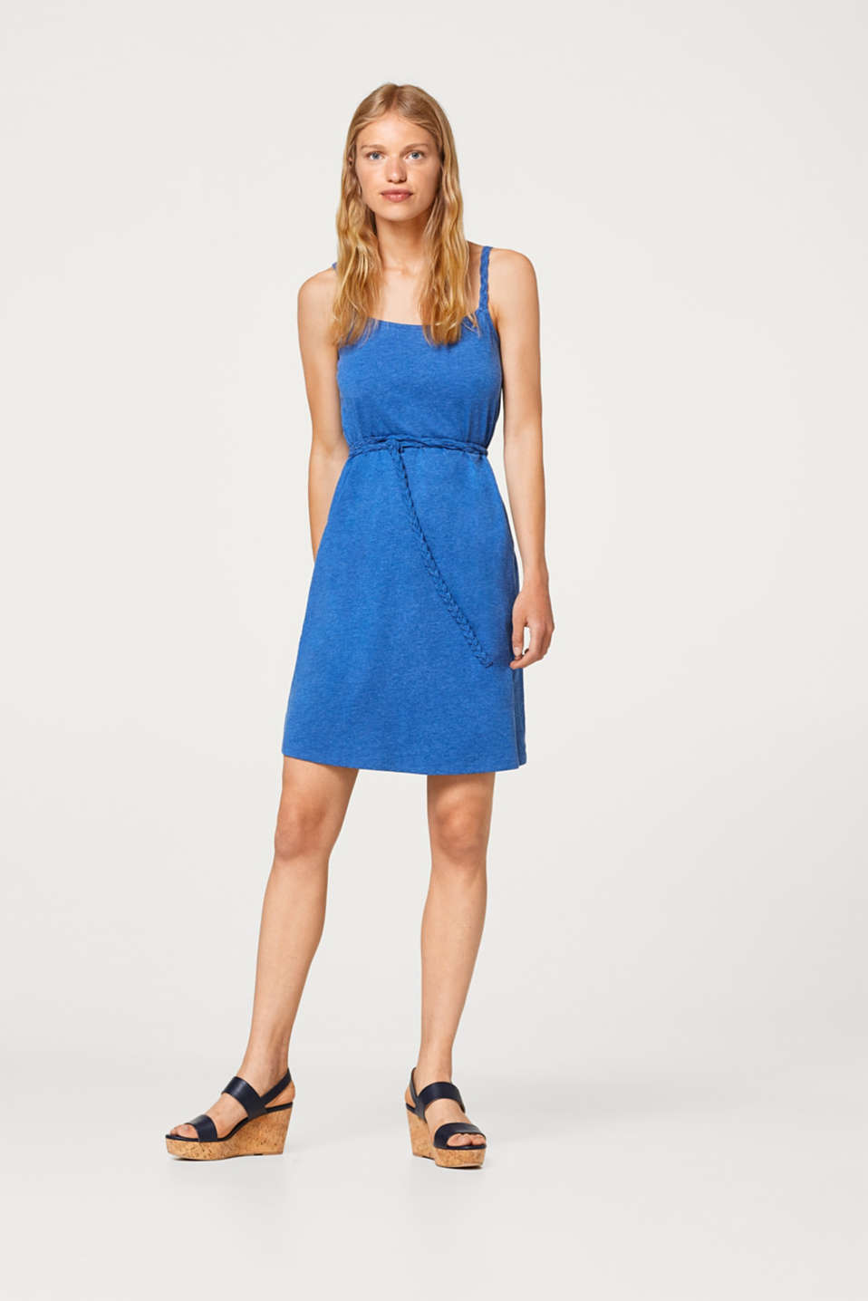 edc - Airy jersey dress with a braided belt
