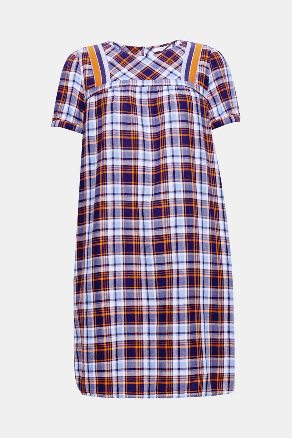 This figure-skimming dress is defined by its lightweight cotton fabric and its trendy check pattern, which is accentuated by modern glittery stripes at the neckline.