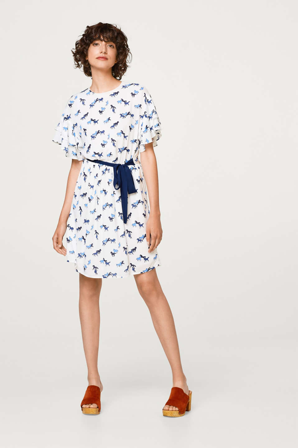 edc - Dress with flounce sleeves and a horse print
