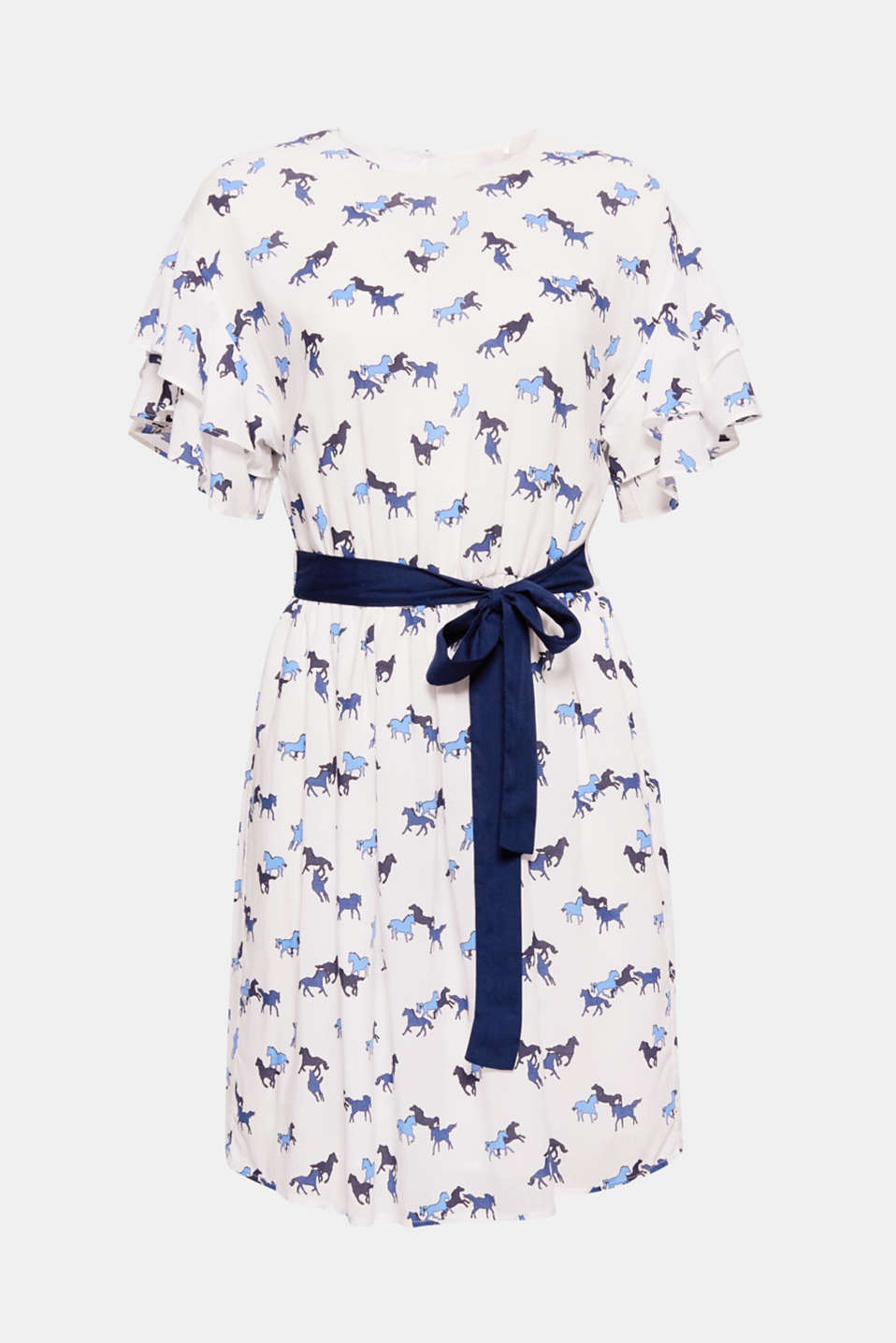 The charming horse print, the pretty flounce sleeves and the waist-accentuating belt makes this dress an ultra-feminine eye-catcher!