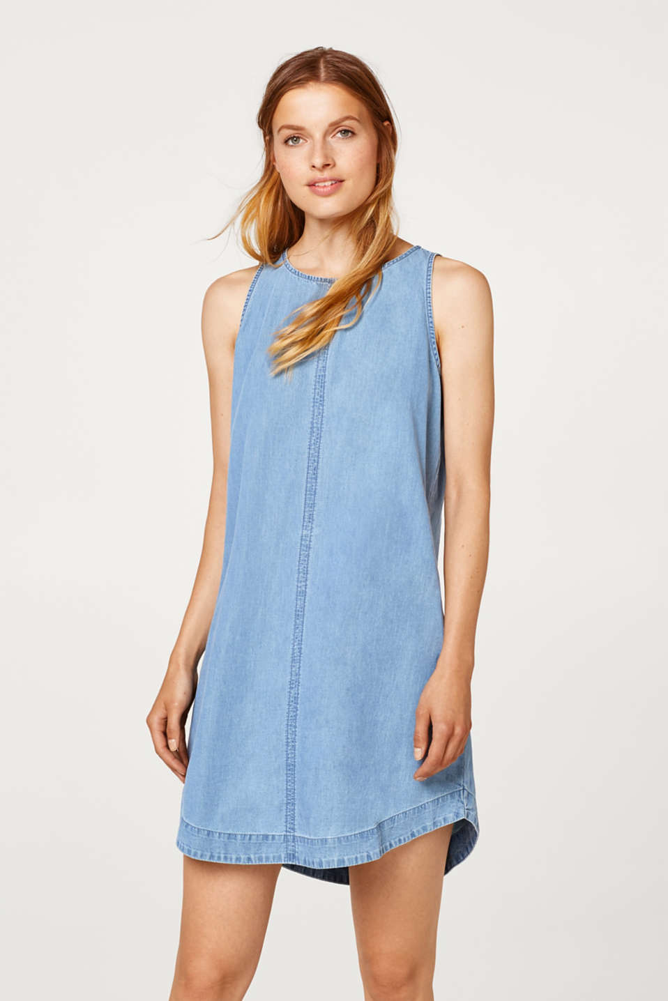 edc - Sleeveless denim dress in 100% cotton