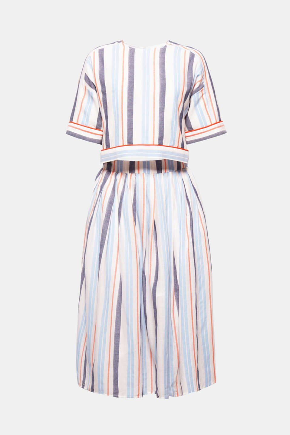 A cropped boxy top, multi-coloured stripes and a flared midi length skirt: This dress combines three skirts at once and is particularly comfortable to wear thanks to the pure cotton fabric.