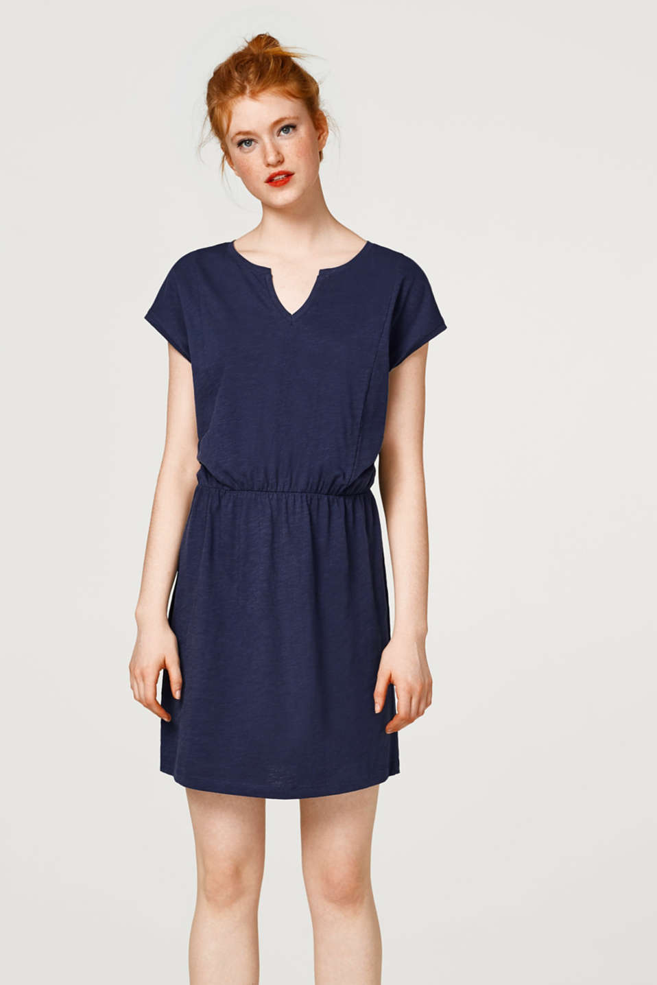 edc - Casual slub shirt dress in cotton