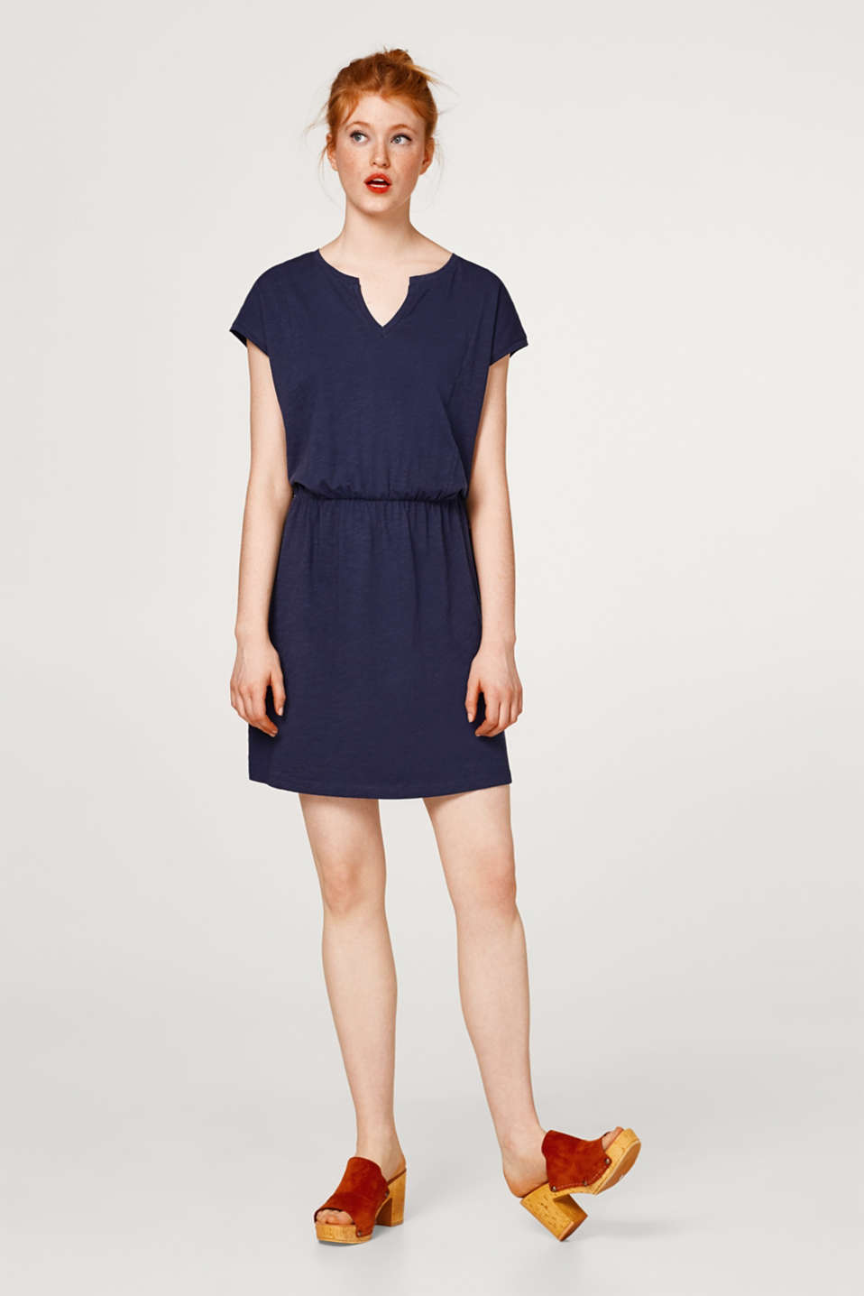 Casual slub shirt dress in cotton