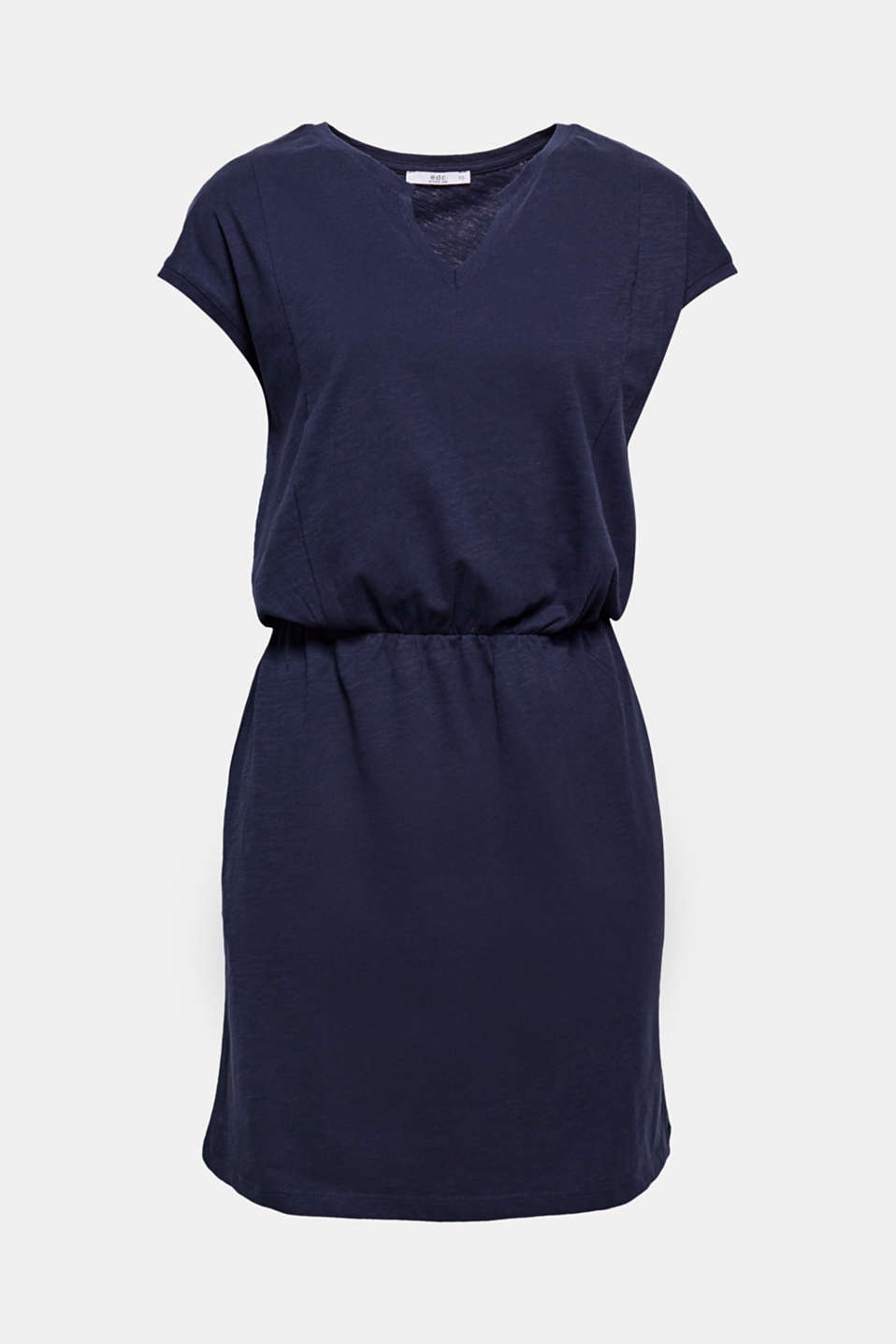 Fuses mega comfort and a laid-back look: cotton-jersey dress with an elasticated waistline and a cut-out at the round neckline.