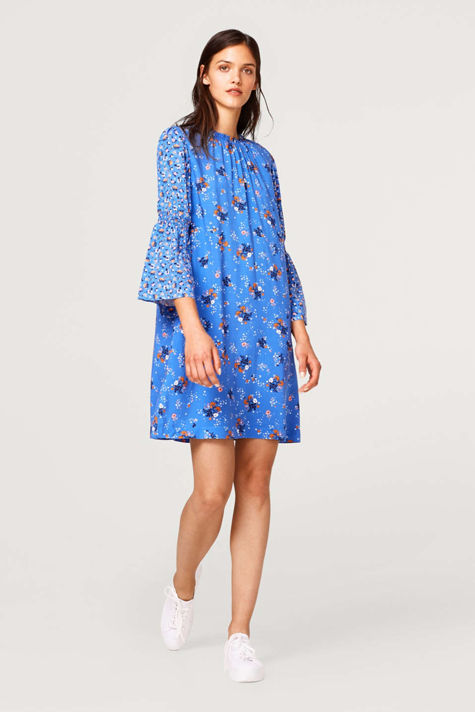 Floral dress with trumpet sleeves