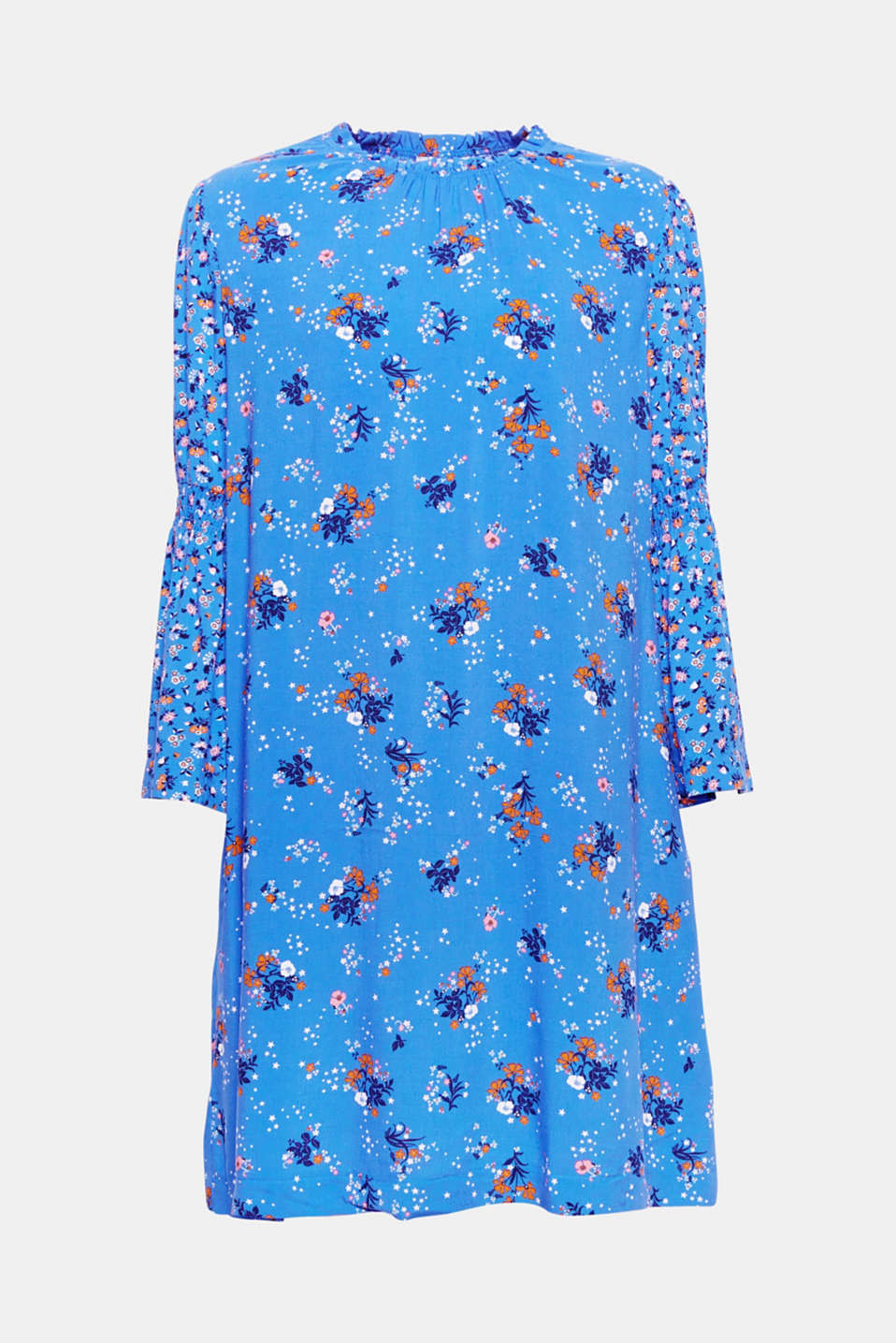 This dress, which features a figure-skimming A-line silhouette, fashionable trumpet sleeves and a mix of floral and star patterns, is a trendy favourite piece.