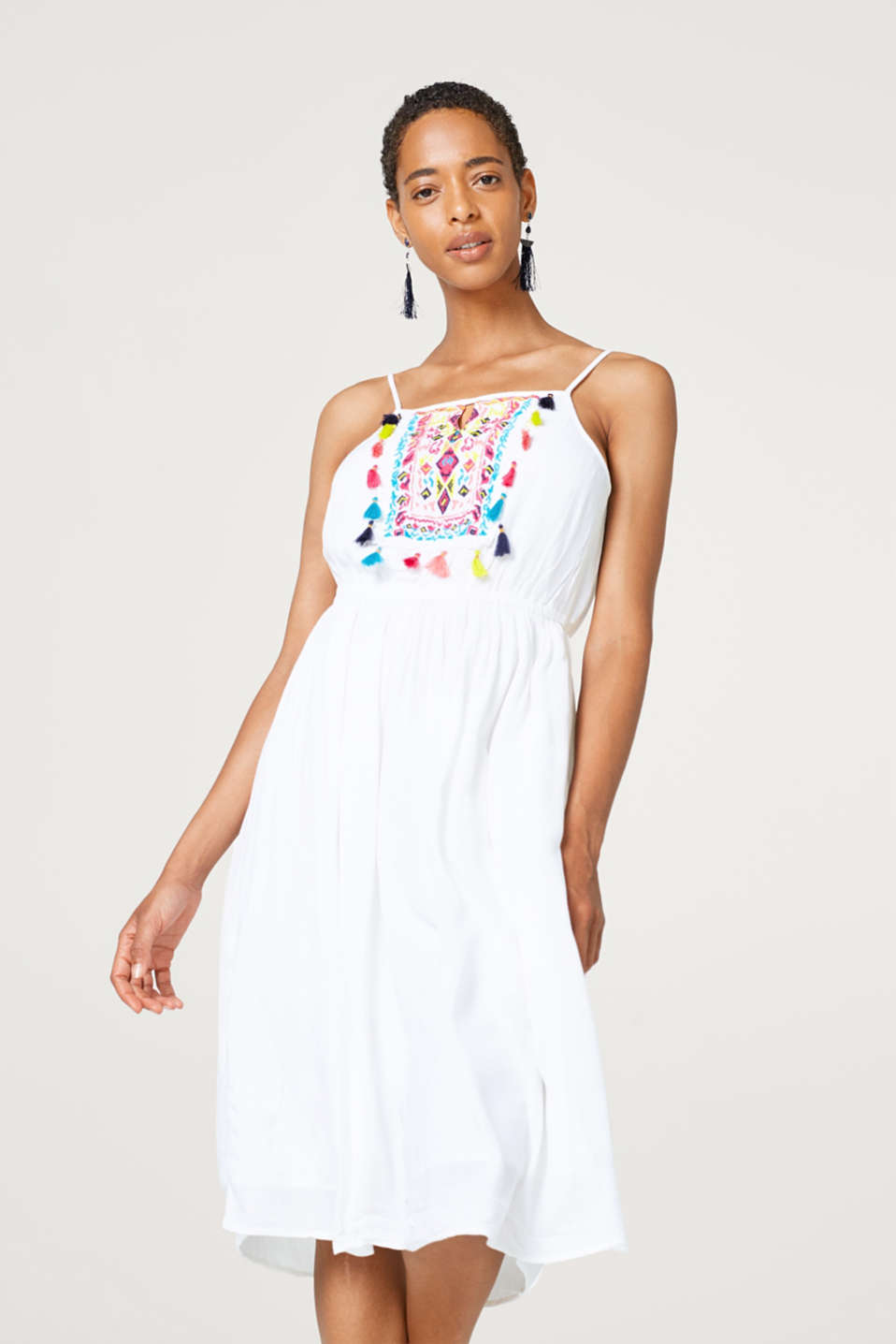 edc - Colourfully embroidered dress with tassels