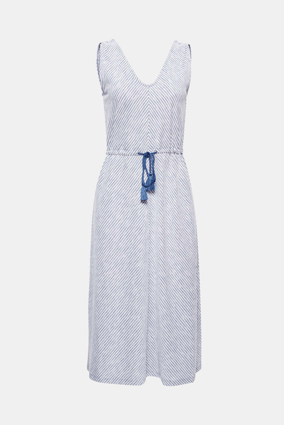 Unbelievably comfortable and a real hit for many different occasions! This dress with two-tone textured stripes and a drawstring waist will quickly become a comfortable, versatile favourite for everyday and leisure wear.