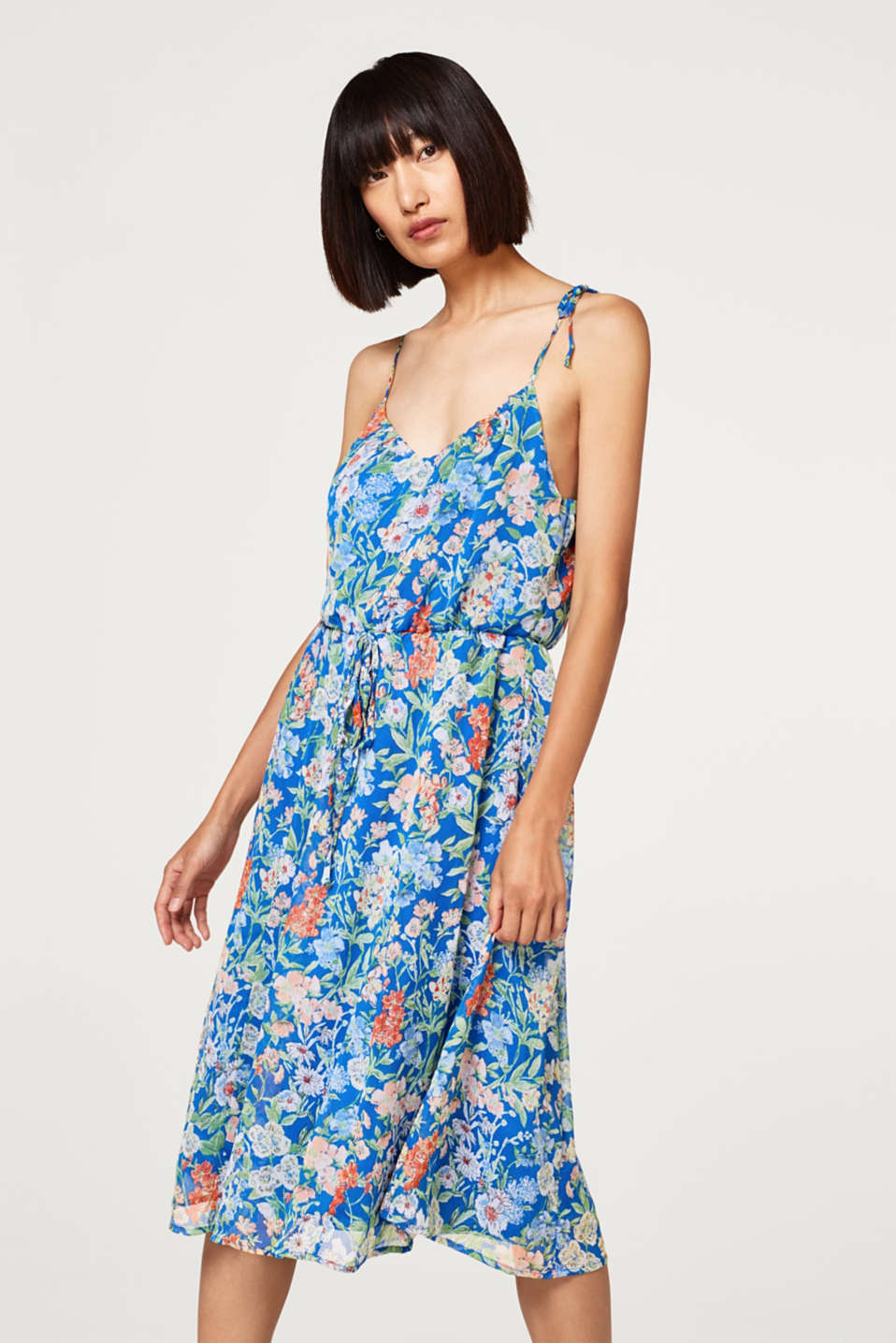 18e904d9671 edc   Vestido midi de gasa con estampado de flores en la Online-Shop