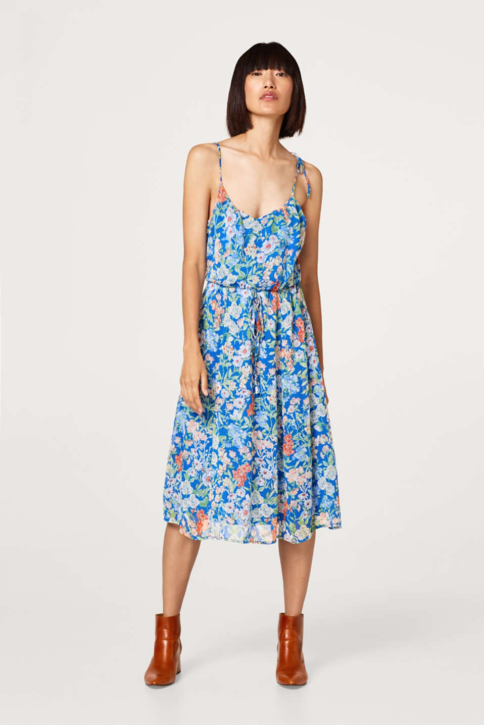Midi dress made of chiffon with a floral print