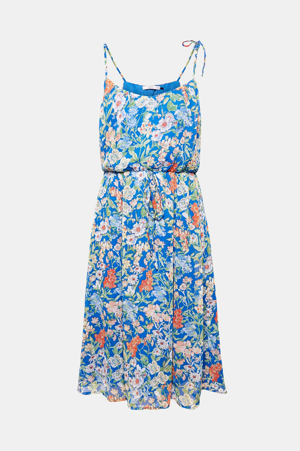 With an airy, figure-skimming midi fit, floral print chiffon fabric and filigree straps, this dress combines all the features that make up a perfect summer piece.