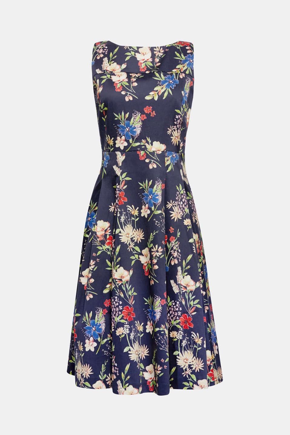 edc - Satiniertes Baumwoll-Kleid mit Blumen-Print im Online Shop kaufen