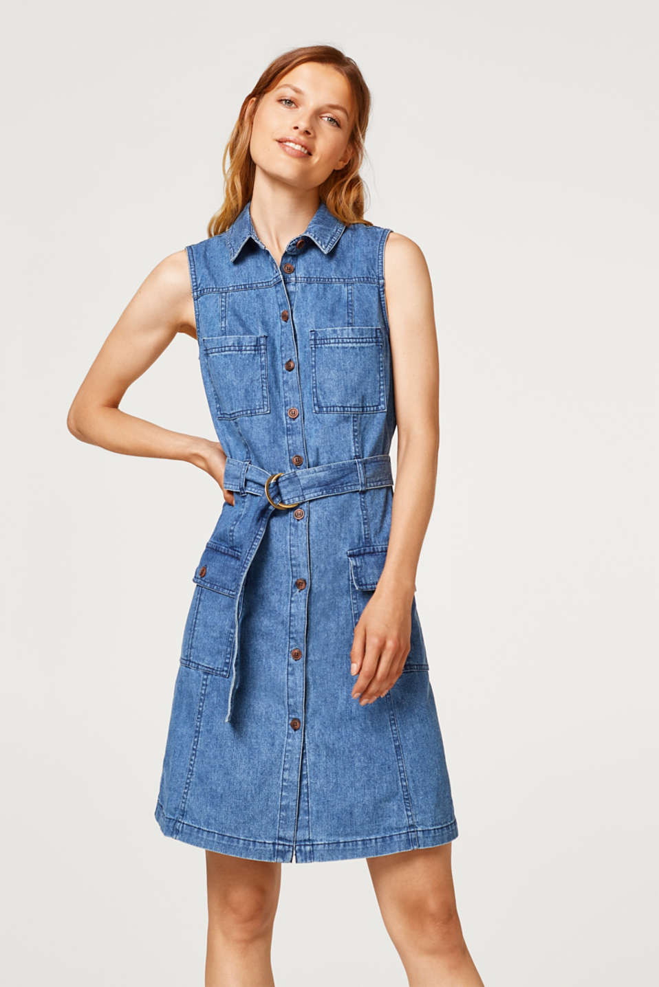 edc - Denim dress in a shirt blouse style, 100% cotton