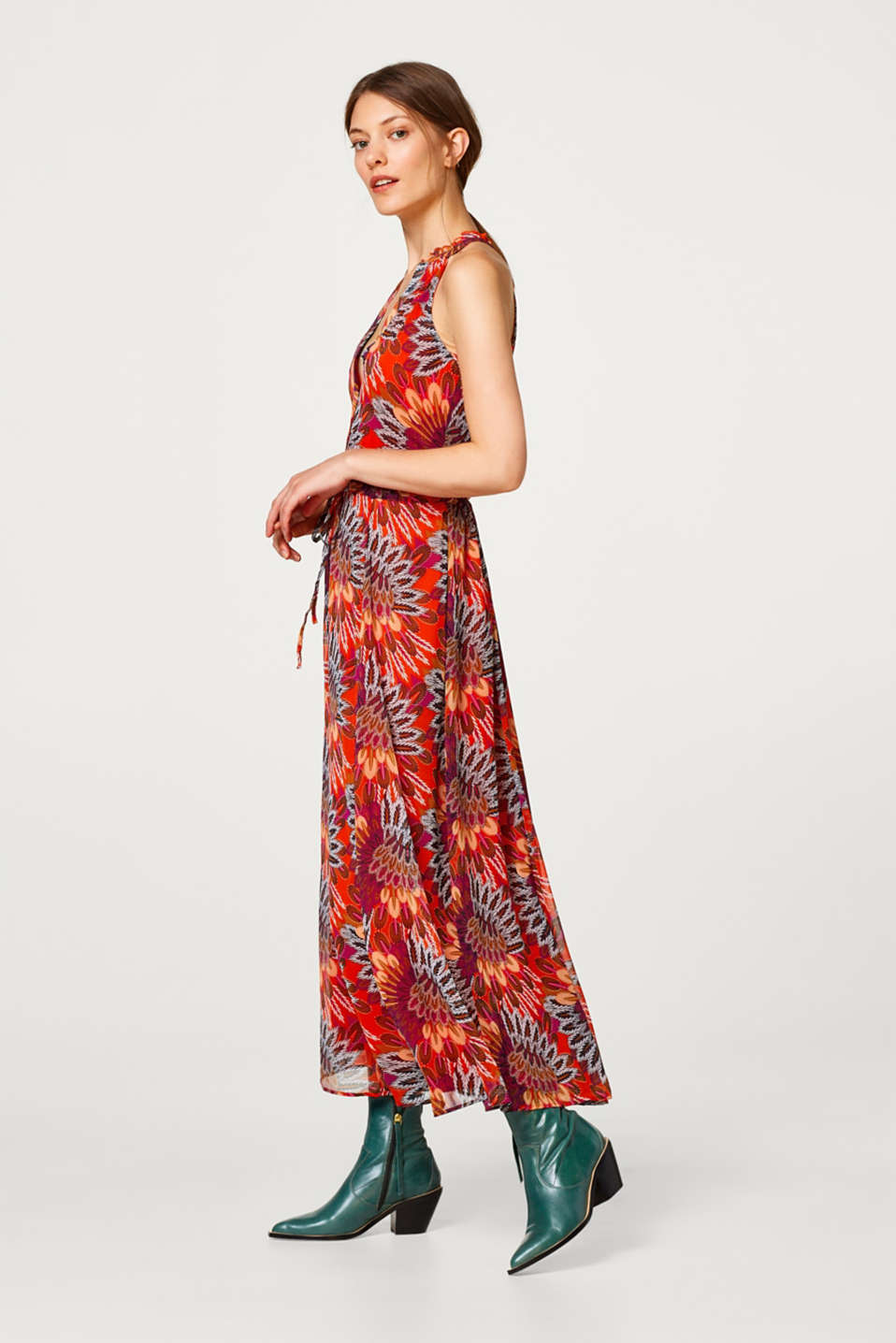 edc - Chiffon maxi dress with a feather print