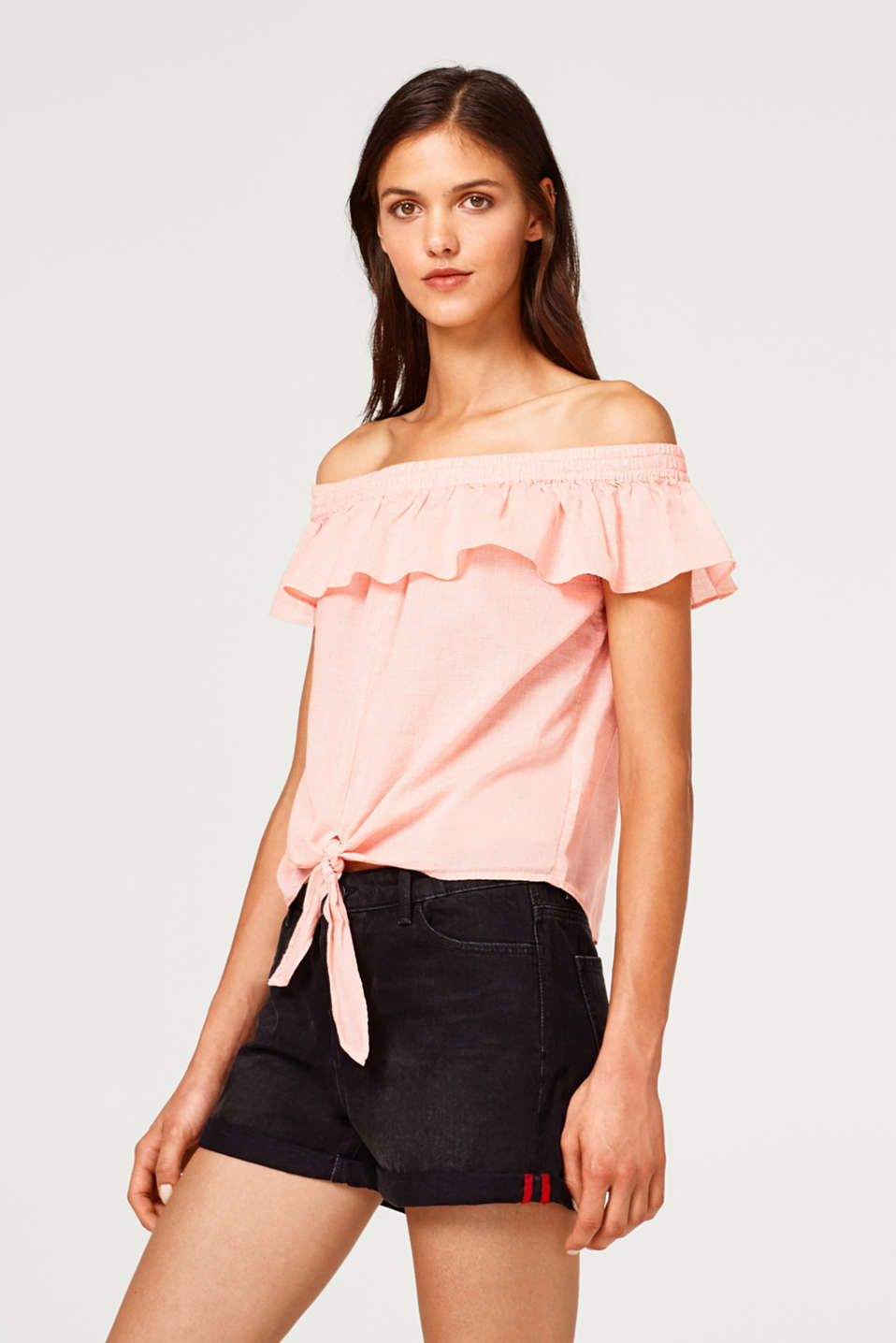 edc - Cropped Carmen blouse top with organic cotton