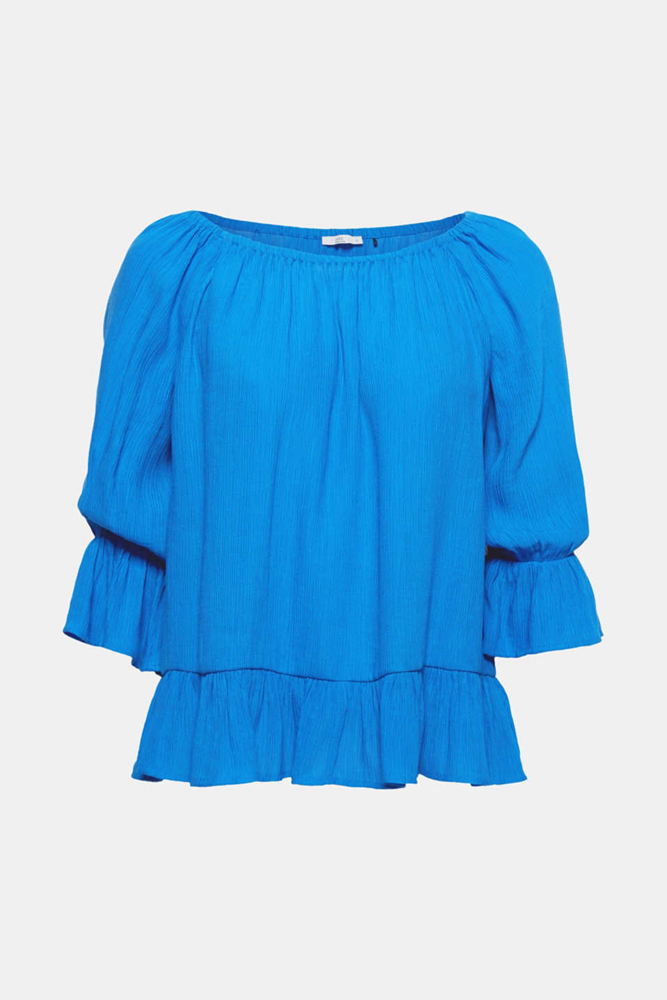 Fine pleats, swirling flounces and an elasticated, wide Carmen neckline give this semi-sheer crinkle blouse its pretty look.