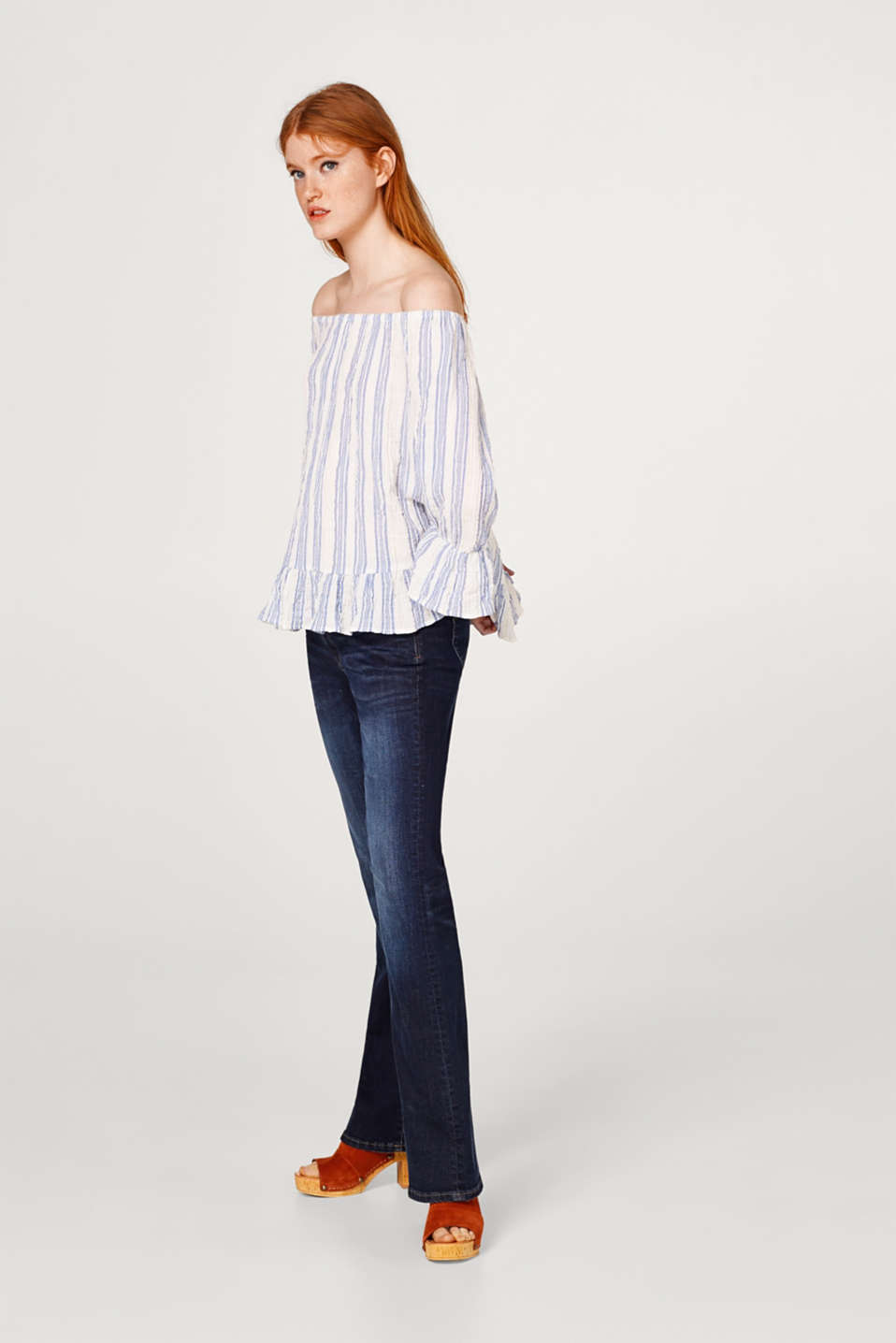 Striped off-the-shoulder blouse with a flounce