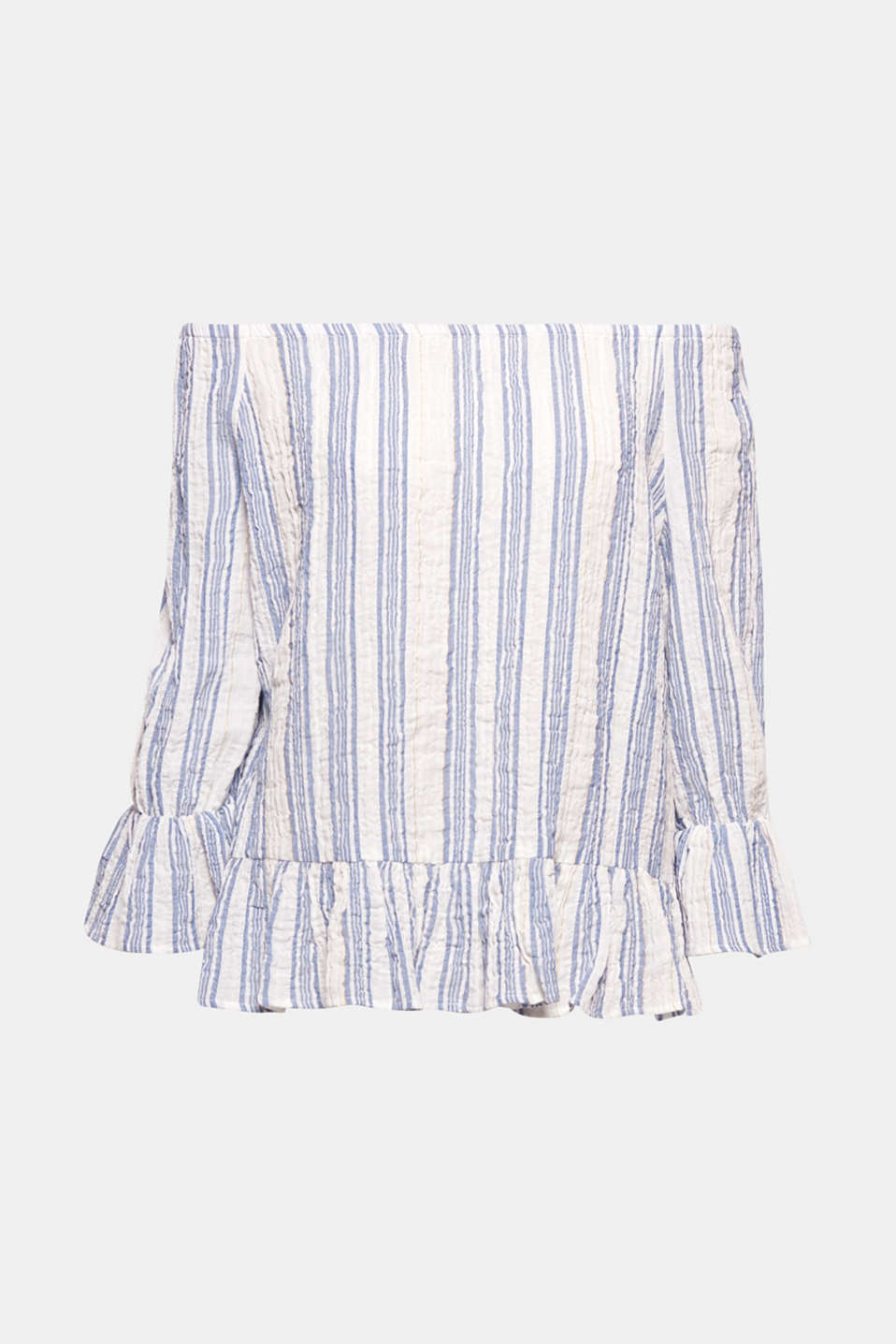 One blouse, lots of styling ideas! This feminine off-the-shoulder blouse in a nautical striped look in delicate crinkle fabric is so versatile to mix and match.