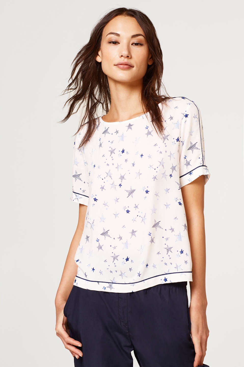 edc - Piped blouse top with an all-over print