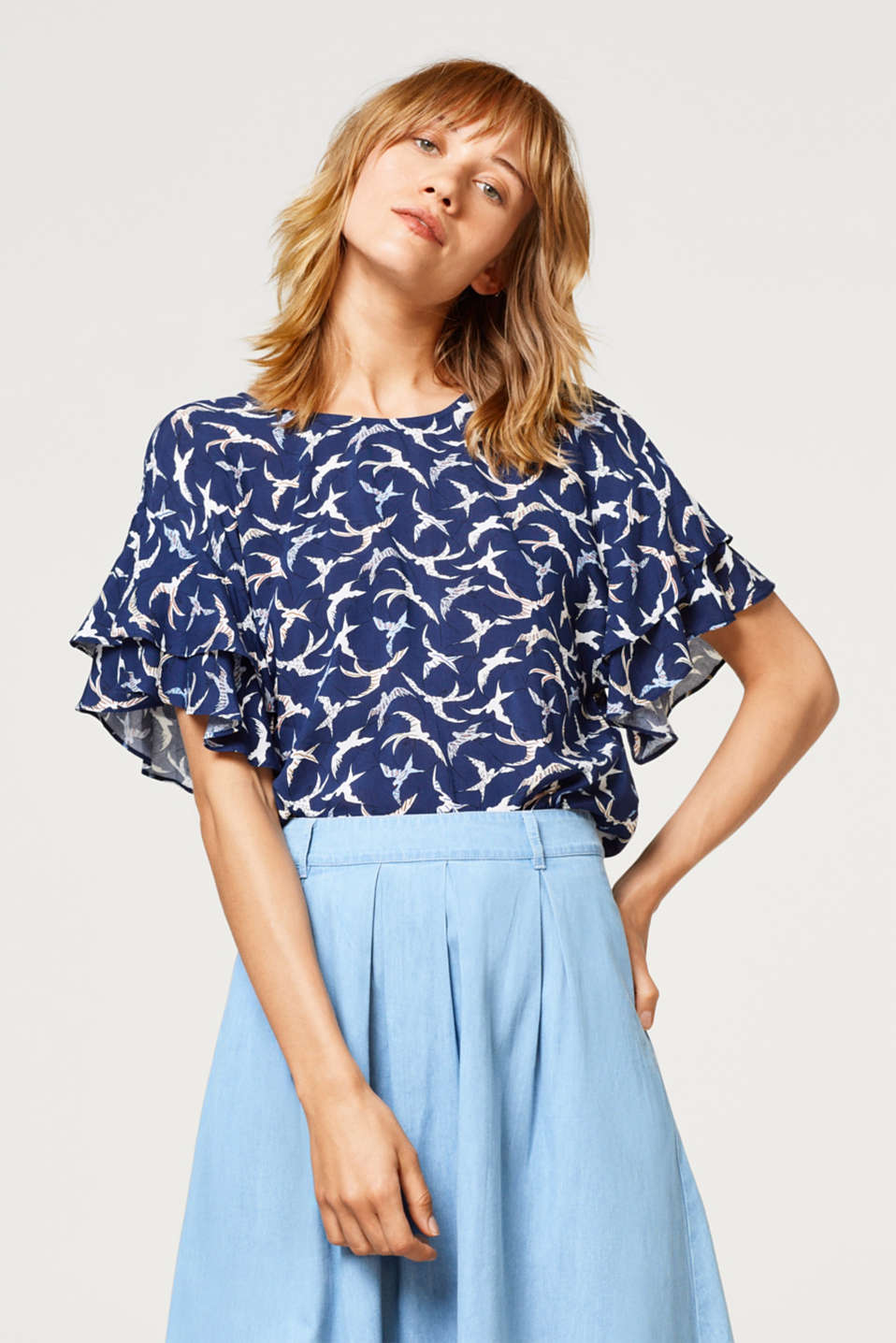edc - Blouse top with a print and wing sleeves