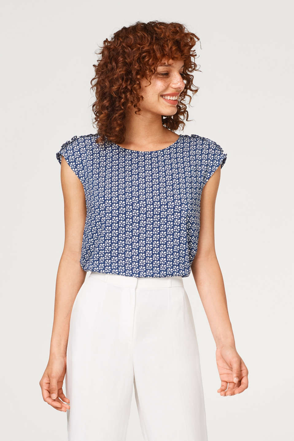 edc - Blouse top with a pattern print and frill details