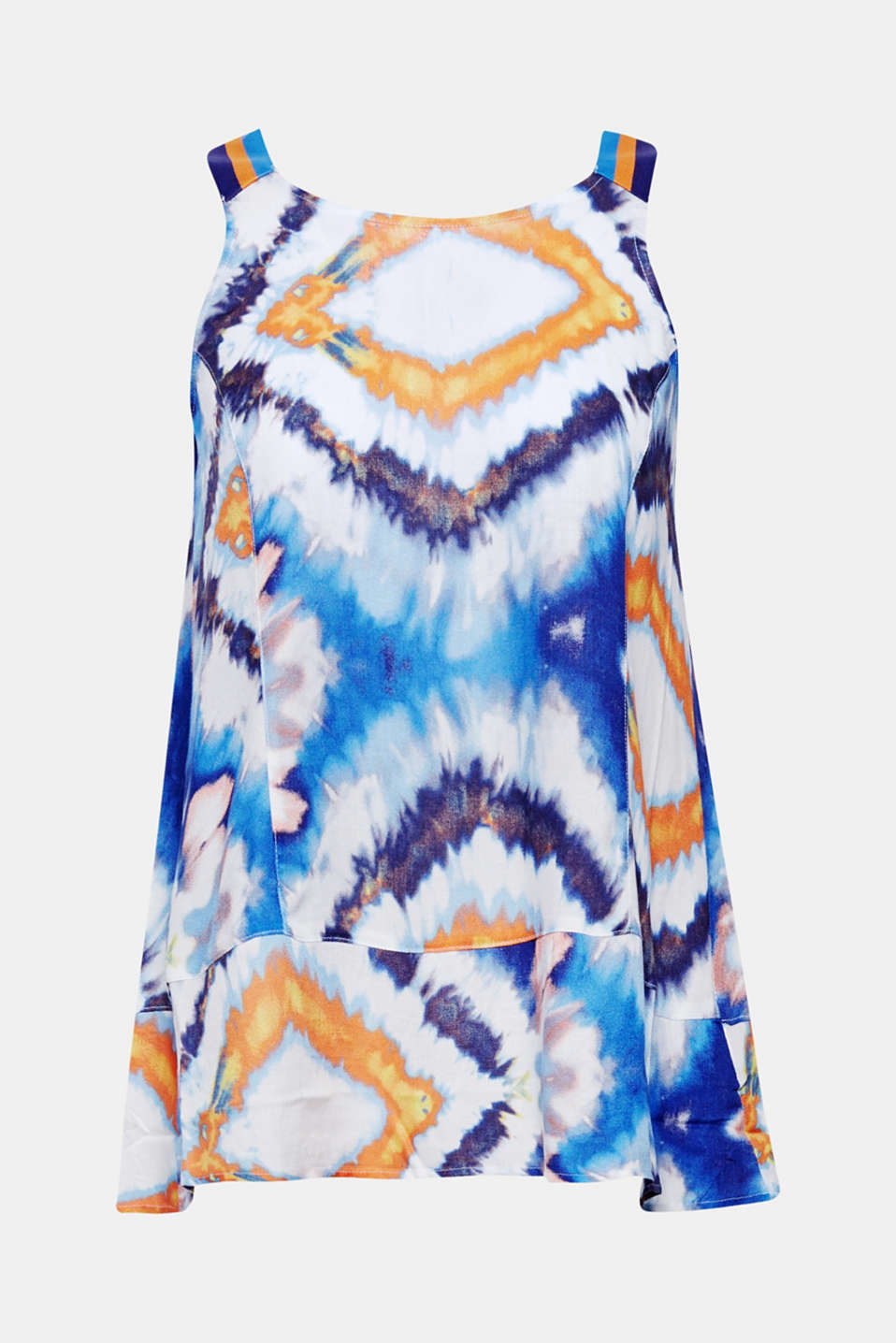 This flared blouse top features light and airy crêpe fabric with a summery batik pattern.