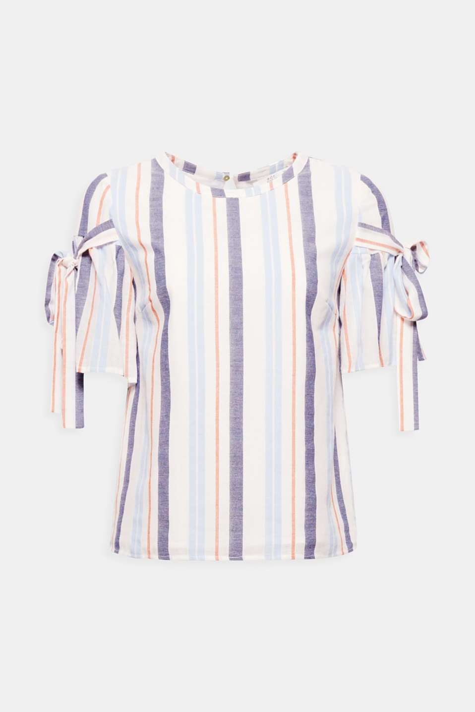 Feminine and super comfy to wear thanks to the pure cotton: This blouse top features fresh multicoloured stripes and short flounce sleeves that are embellished with playful ties.