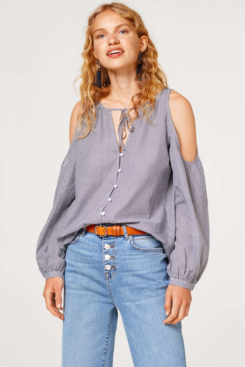edc - Cold-shoulder blouse, 100% cotton