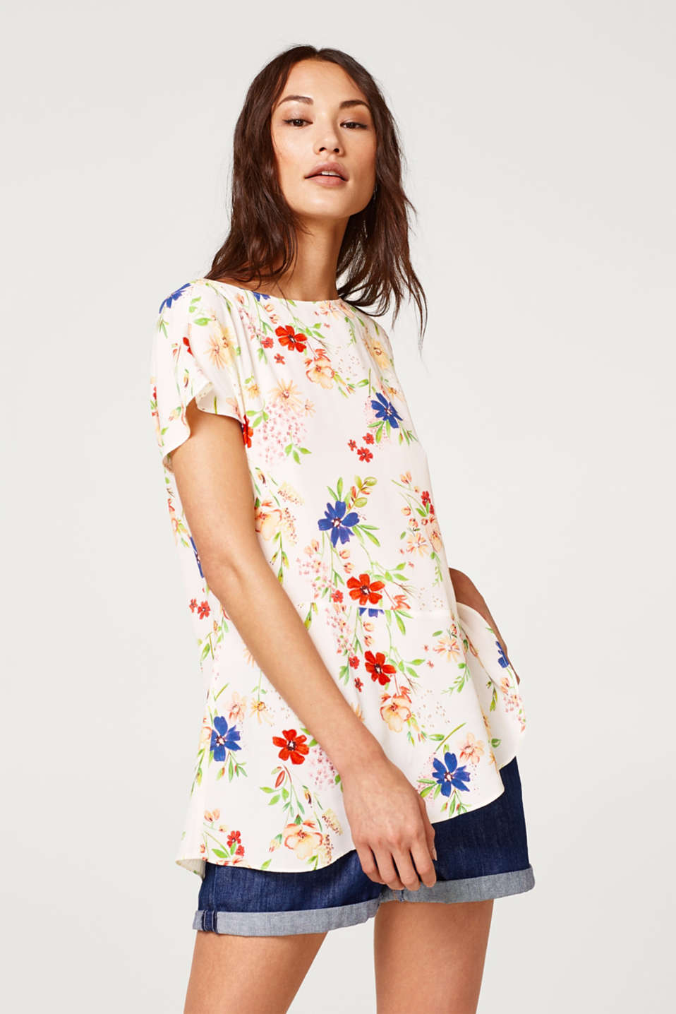 edc - Floral blouse with an asymmetric flounce hem