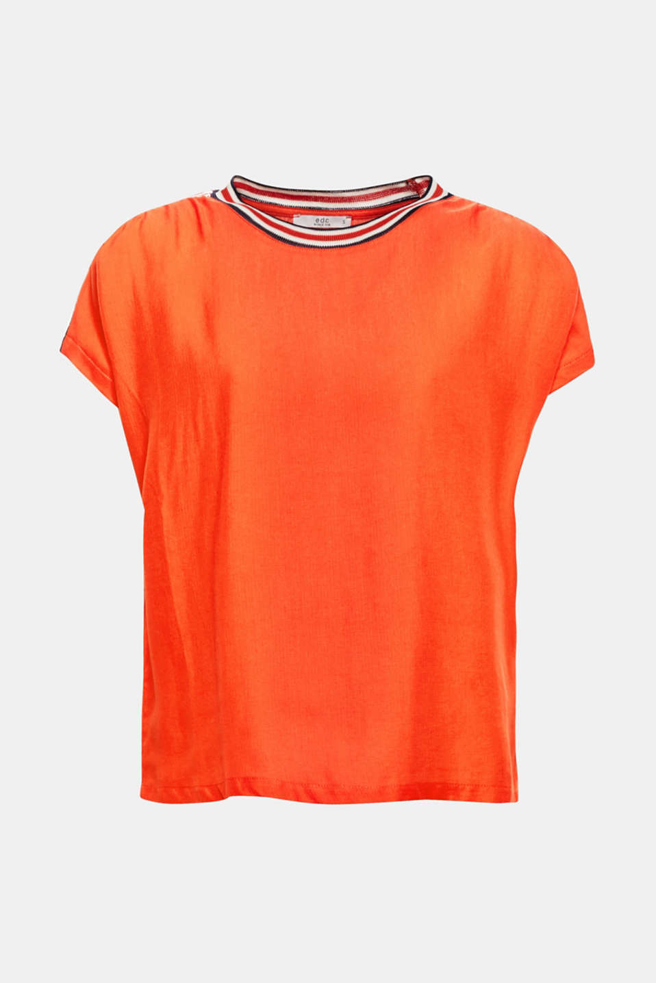 Striped, rib knit trims on the neckline and shoulders give this flowing blouse top a sporty update.