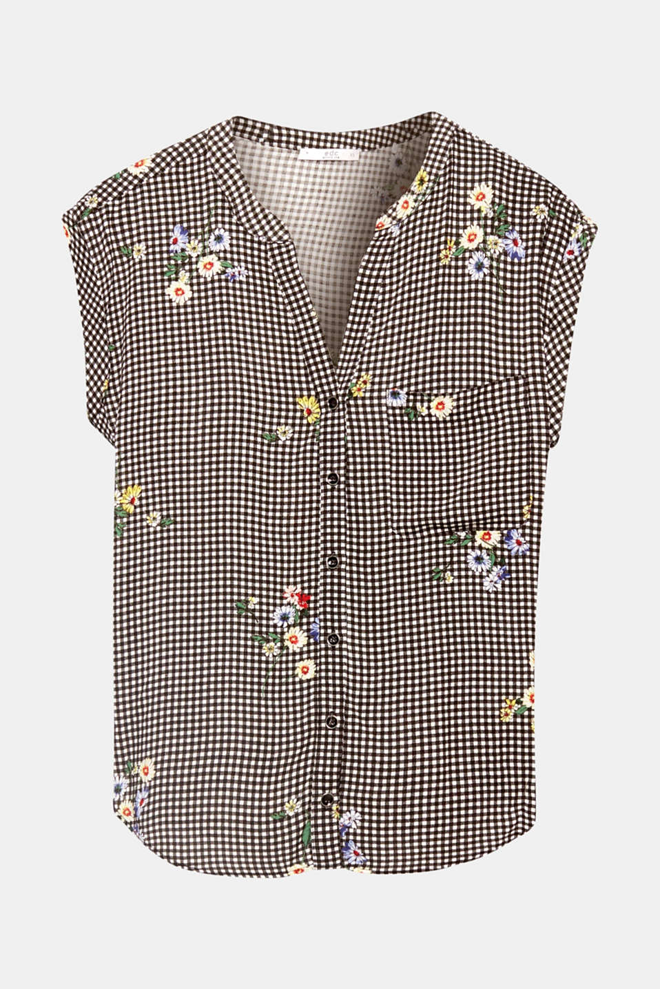 Gingham check meets dainty flowers! This fine blouse top made of soft viscose combines two patterns in a trendy style.