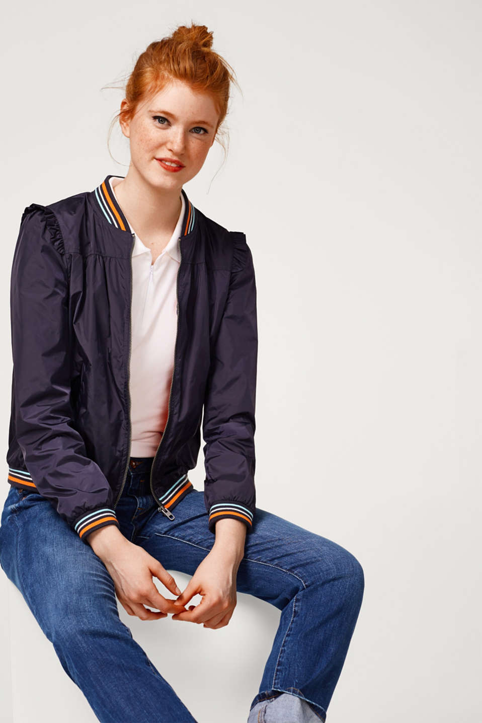 edc - Lightweight bomber jacket with a frilled trim
