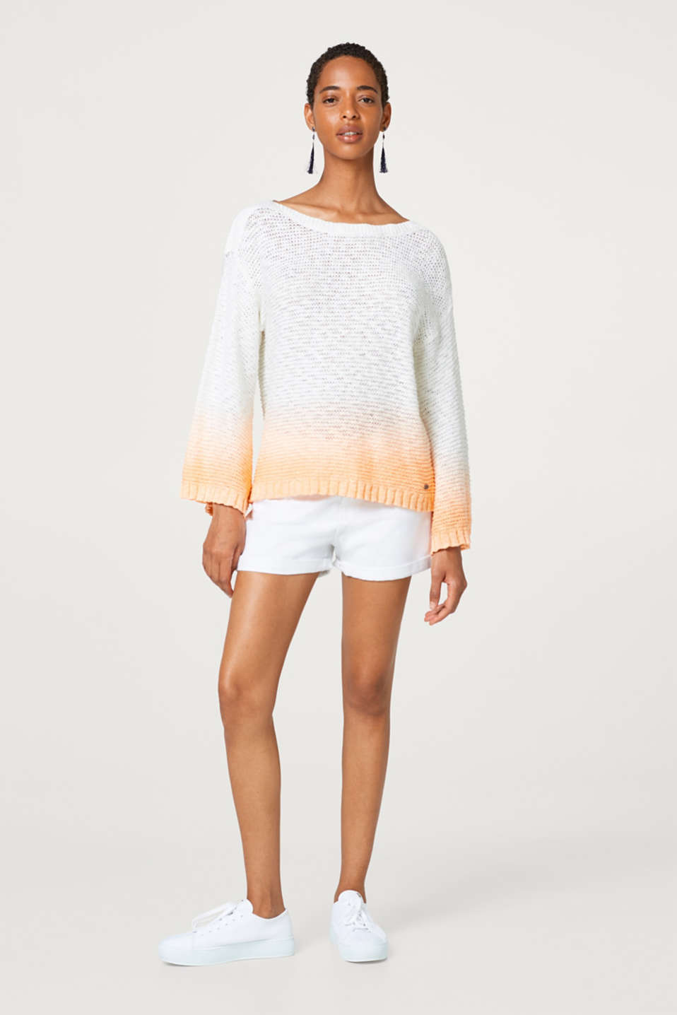 Textured jumper with colour gradation, made of 100% cotton