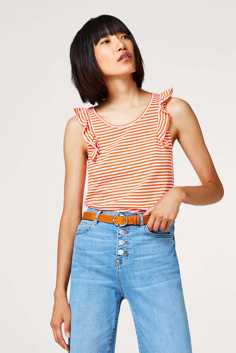 edc - Striped cotton tank top with a frilled trim