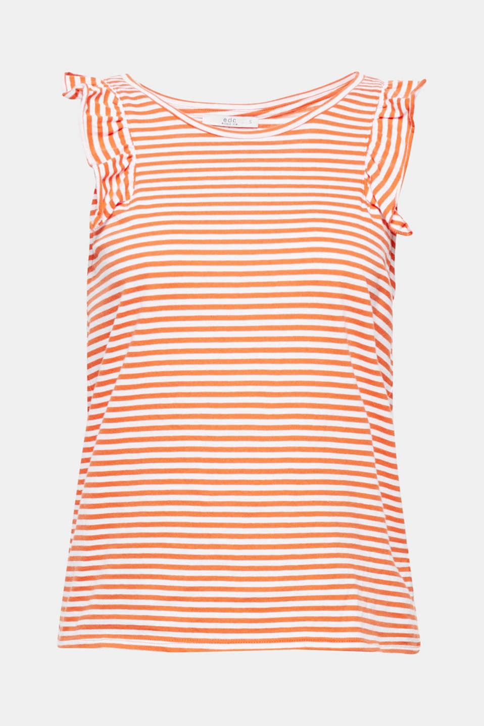 Nautical classic piece with pretty frills! This striped tank top gets a feminine touch from the frilled trim on both sleeves.