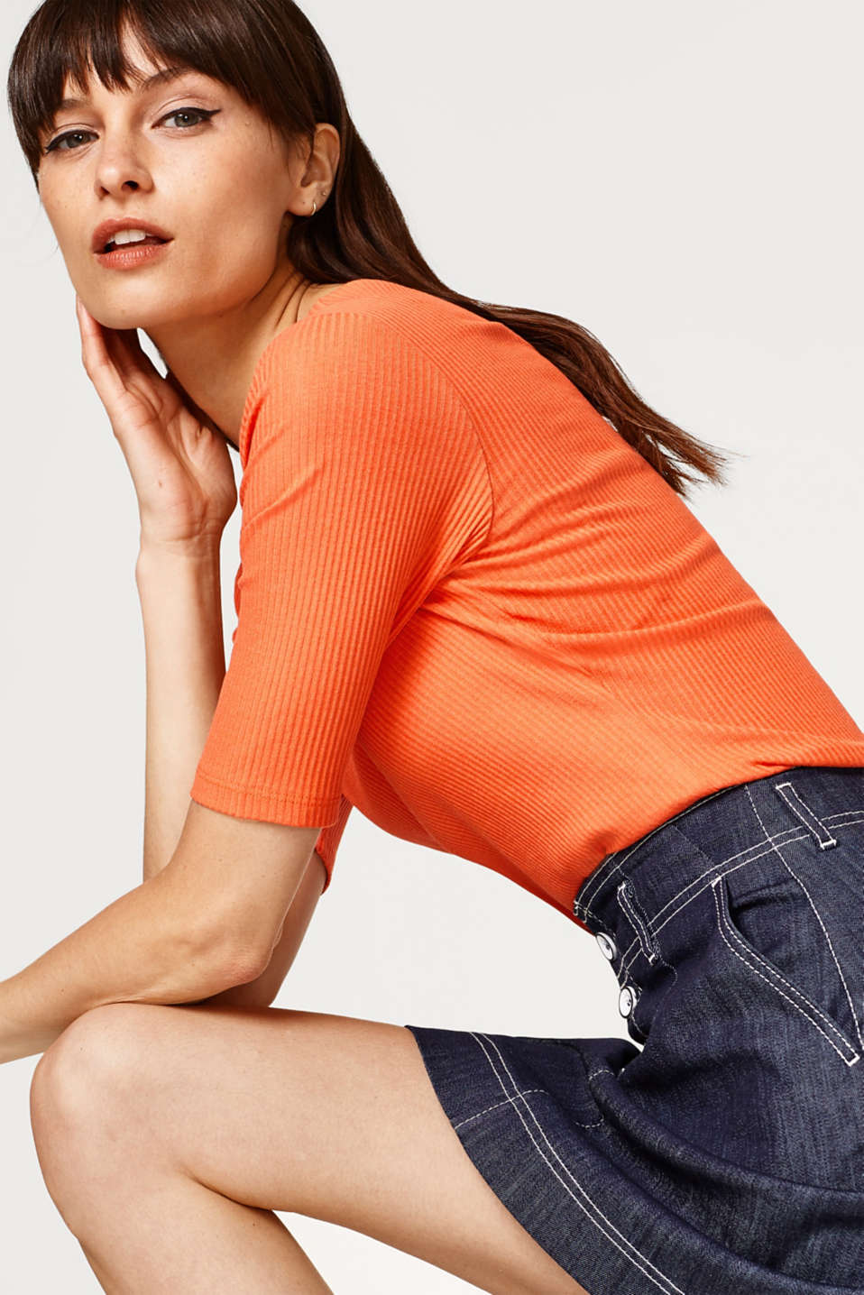 edc - Stretch cotton T-shirt with a ribbed texture