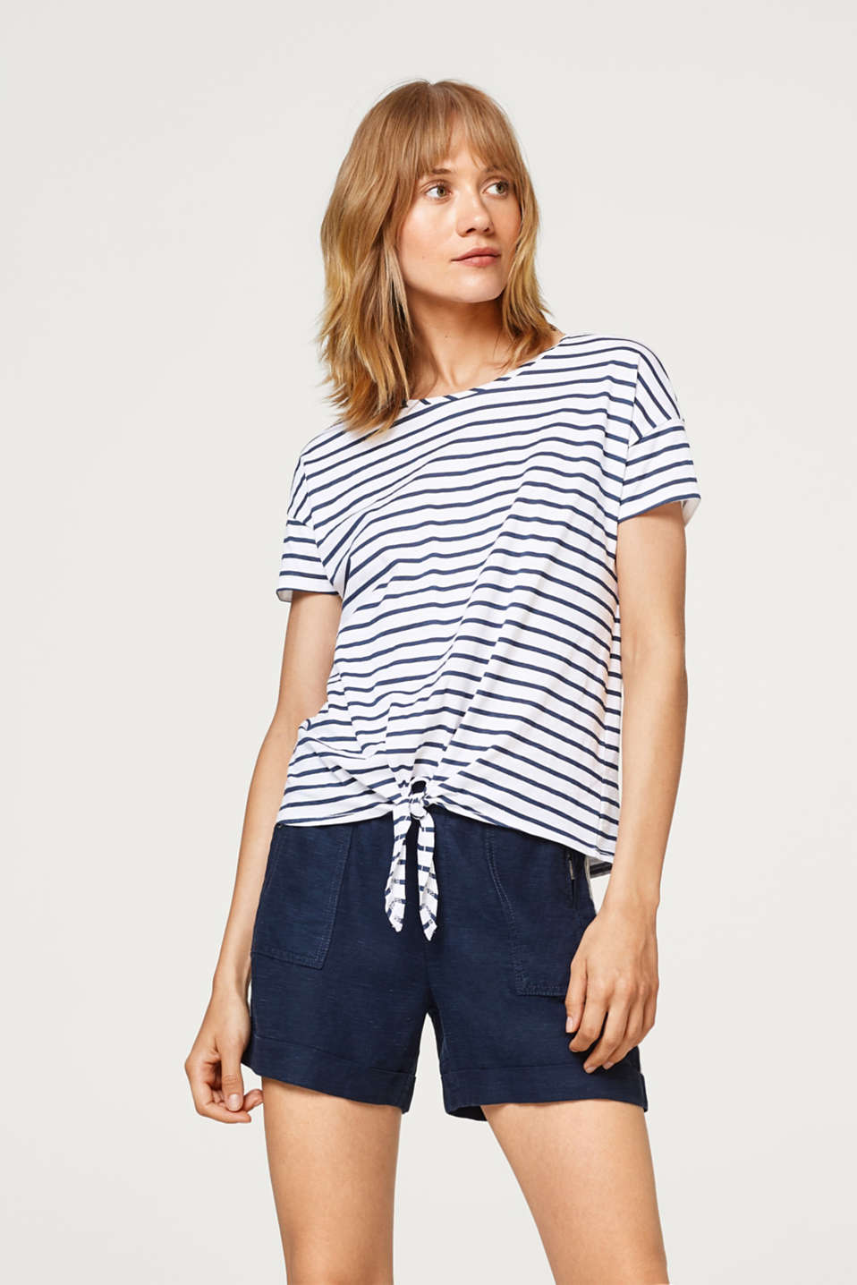 edc - Striped cotton T-shirt with bow details