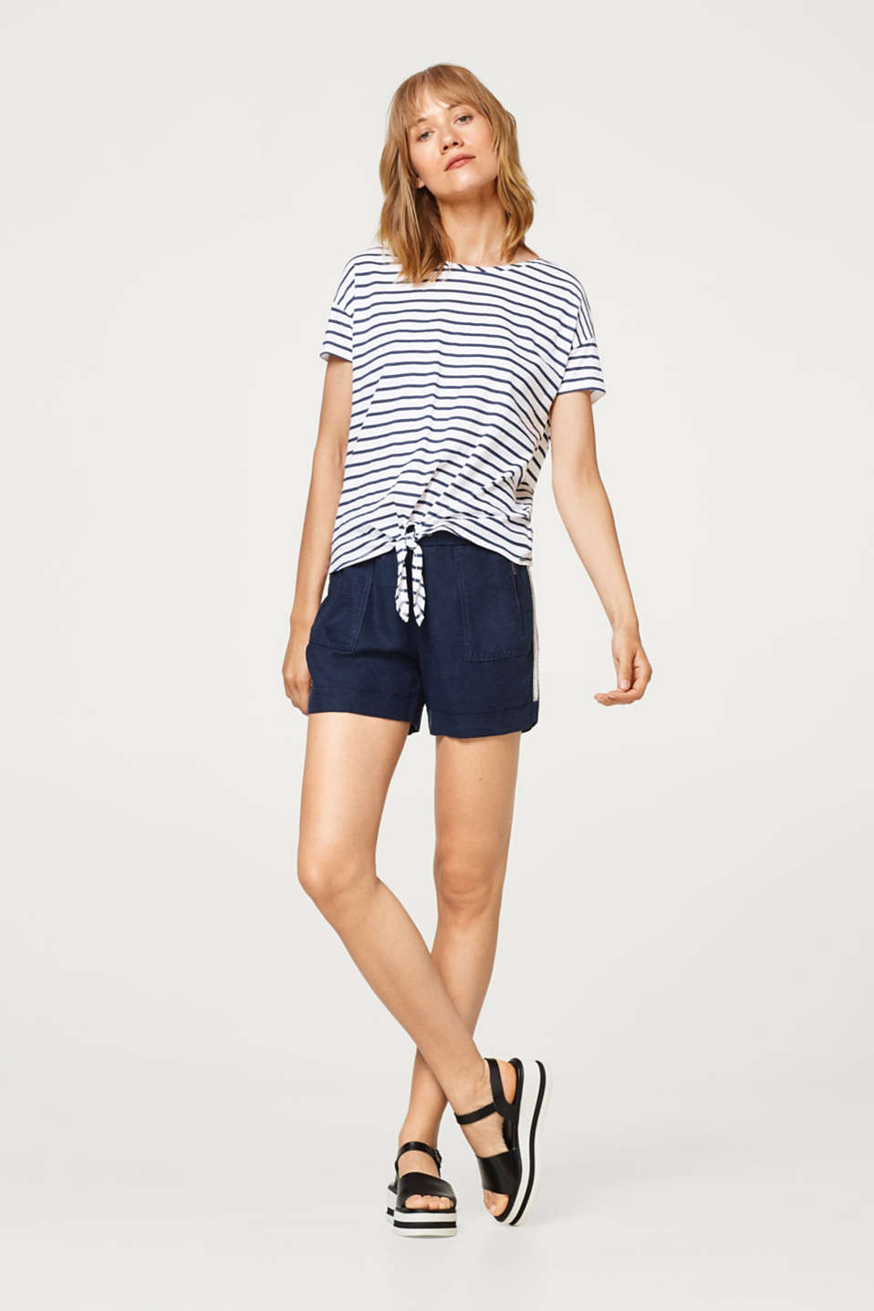 Striped cotton T-shirt with bow details