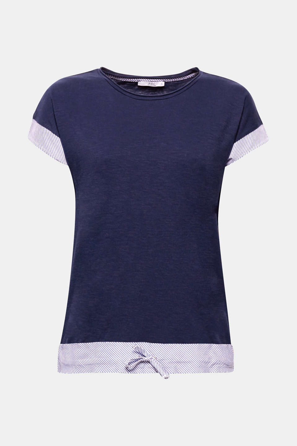 The striped cloth appliqué and drawstring hem give this airy, textured T-shirt a new nautical flair.