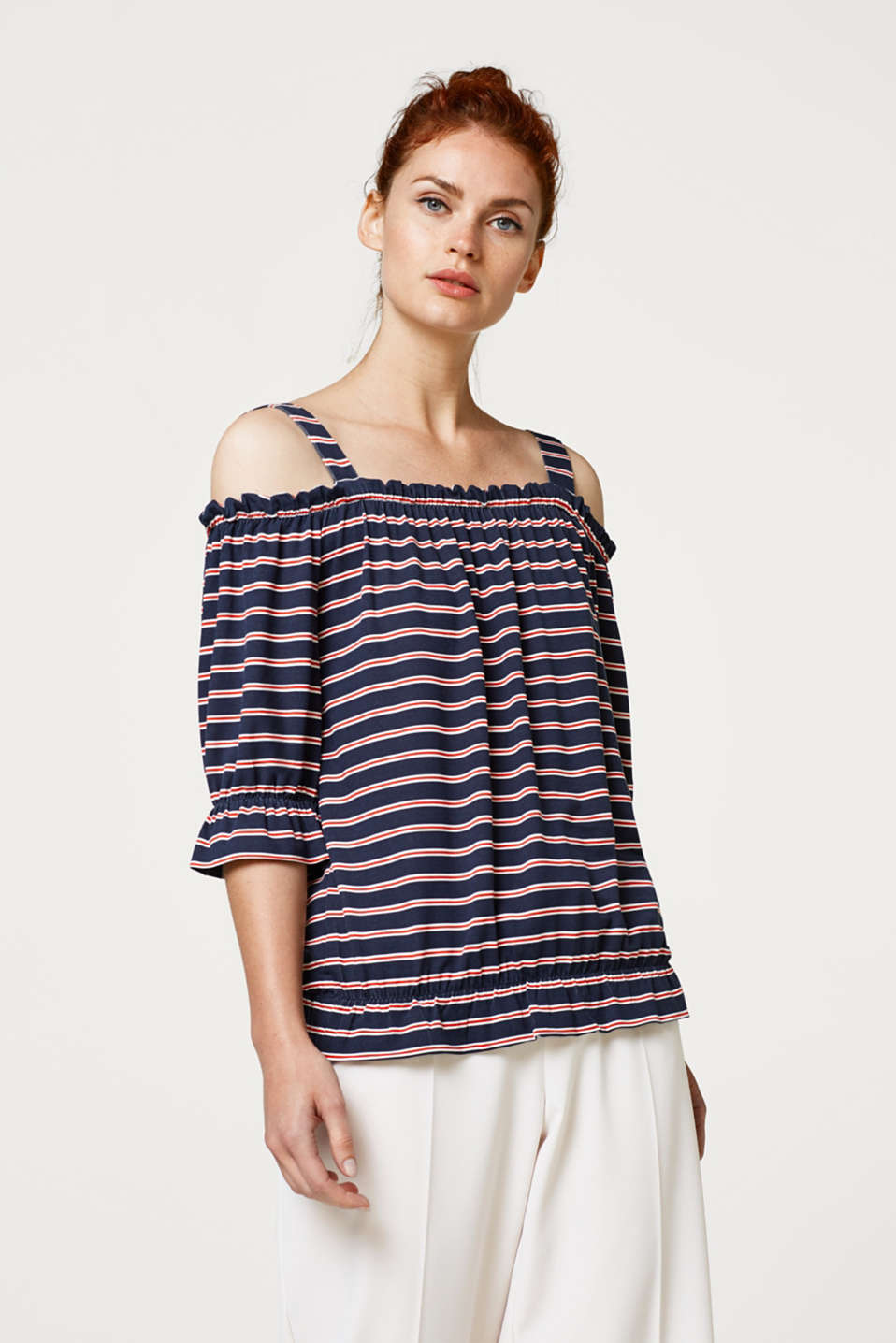 edc - Cold-shoulder jersey shirt in gestreepte look
