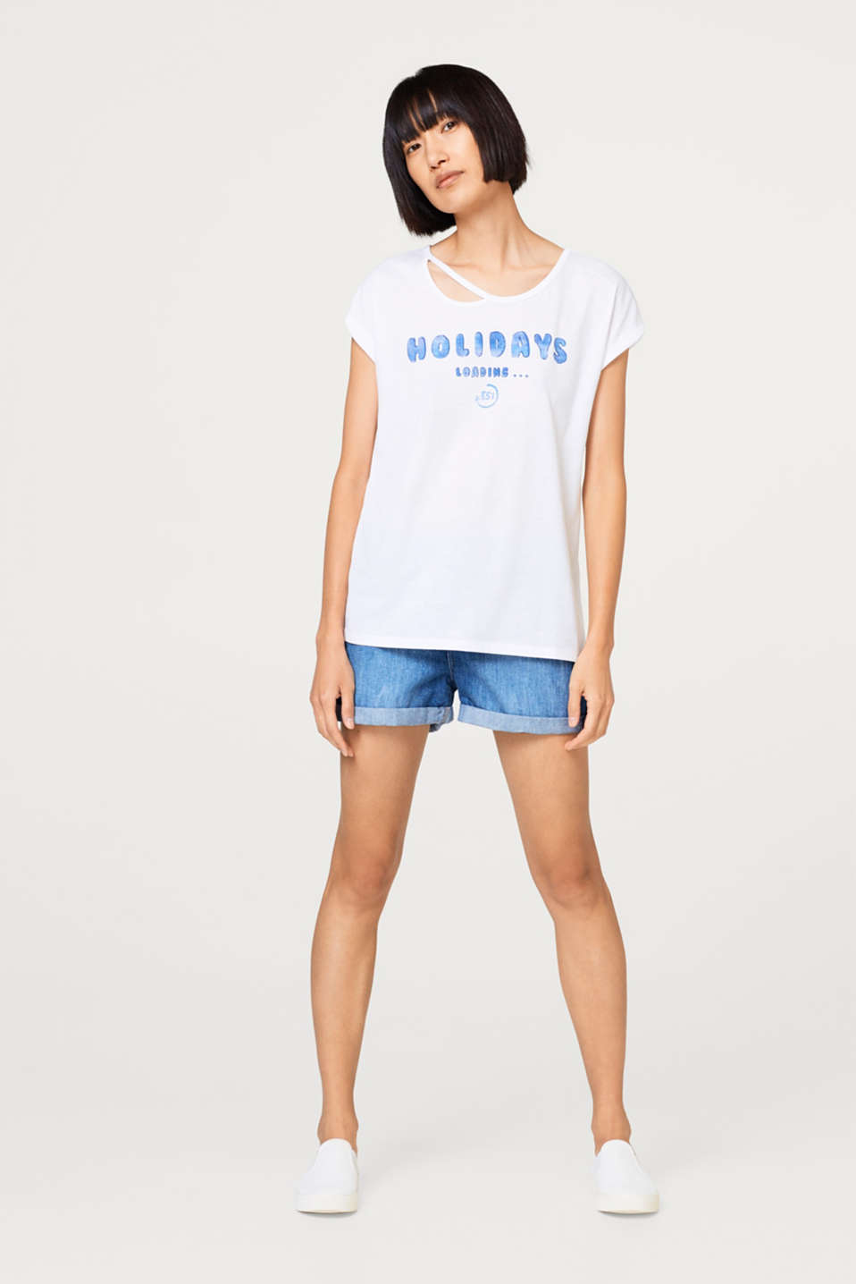 Melange jersey T-shirt with a statement front print